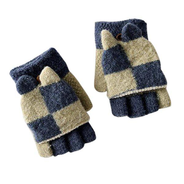 Outfits Two-color Stitching with Cover Half Finger Children's Gloves Baby Warm Household Items