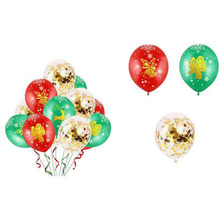 Unique Christmas Balloon Latex 12 Inch Bronze 5 Faces All Printed Color Round Christmas Balloons 34pcs
