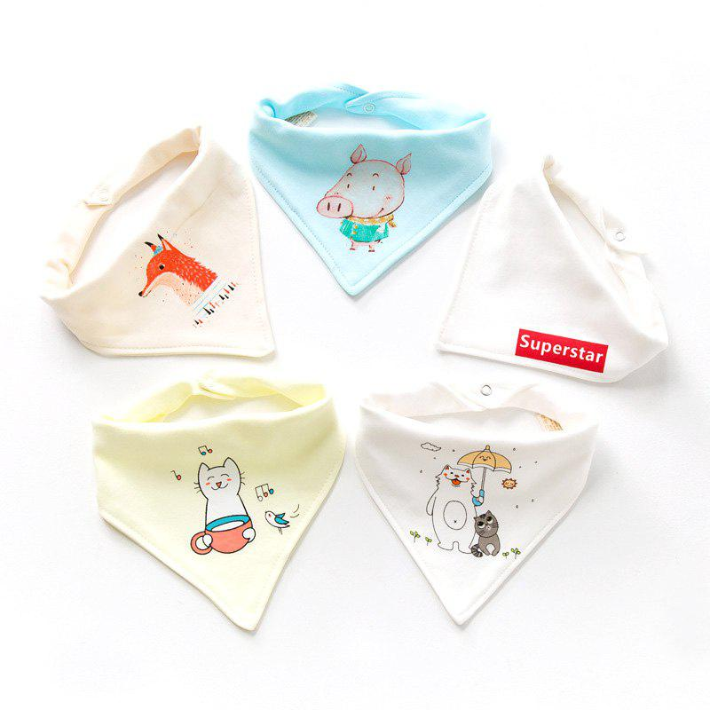Trendy Cotton Baby Double Button Newborn Child Turban Bib 5pcs