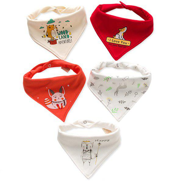 Cheap A Type Baby Triangle Saliva Towel Cotton Bib Double Button Newborn Child Turban 5PCS