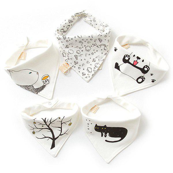 Best A Type Baby Triangle Saliva Towel Cotton Bib Double Button Newborn Children Turban 5PCS