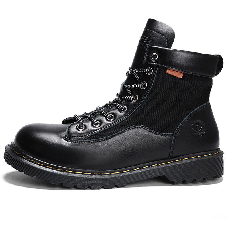 Buy Men Fashionable Wear-resistant Solid Leisure High-top Boots