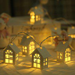 10 LED Small Nordic Christmas Decoration Wooden House Light String 2M -