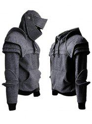 Solid Color Men's Retro Elbow Drawstring Mask Knight Hoodie -
