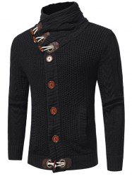 Horn Buckle High Collar European Station Solid Color Sweater -