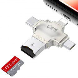 4 в 1 Micro USB / Type-C / USB2.0 / 8 Pin Металл TF / Micro SD Card Reader для iPhone / Android Мобильный телефон / ПК -