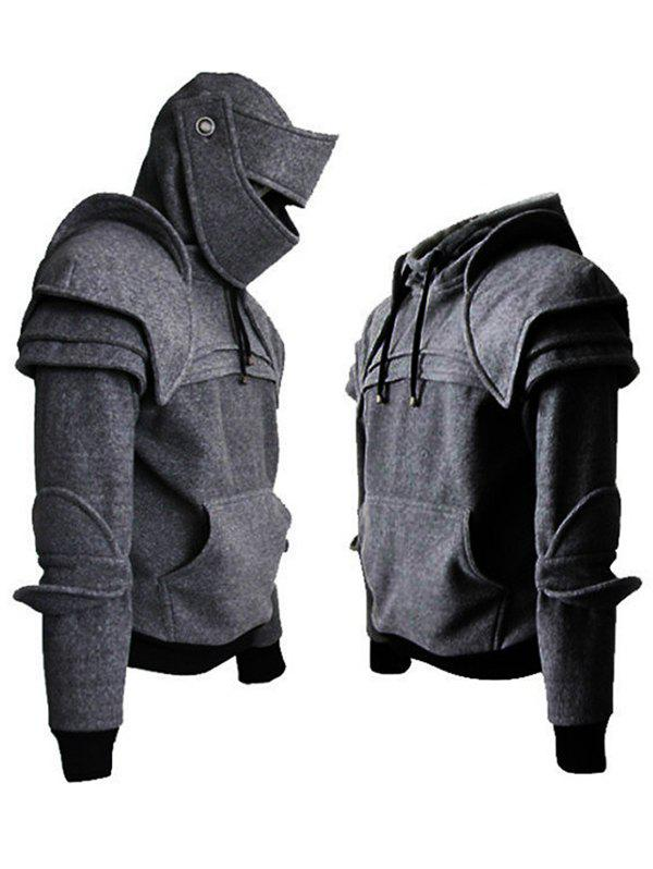 Shop Solid Color Men's Retro Elbow Drawstring Mask Knight Hoodie