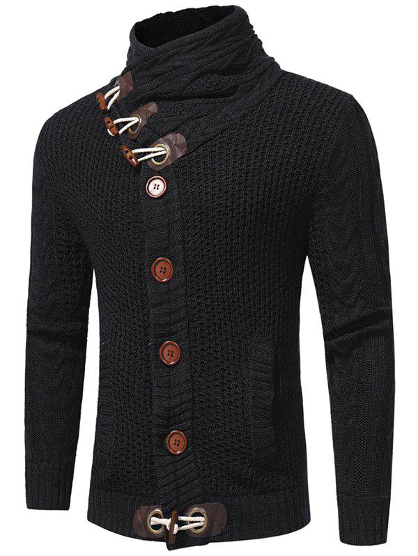New Horn Buckle High Collar European Station Solid Color Sweater