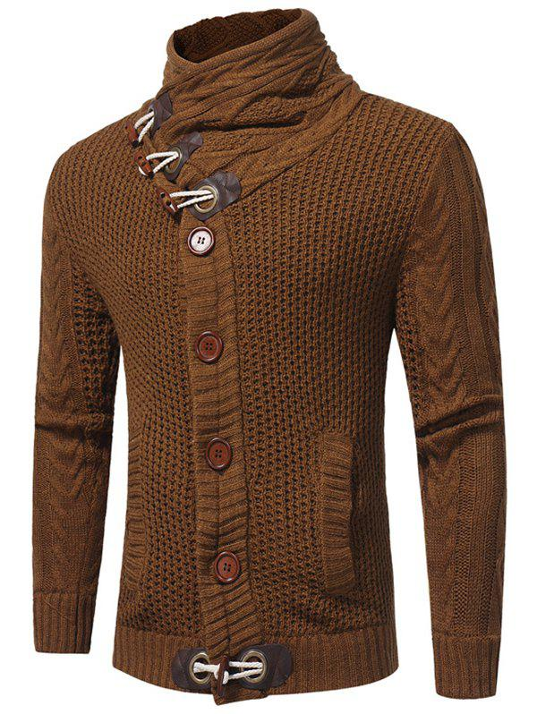 Hot Horn Buckle High Collar European Station Solid Color Sweater