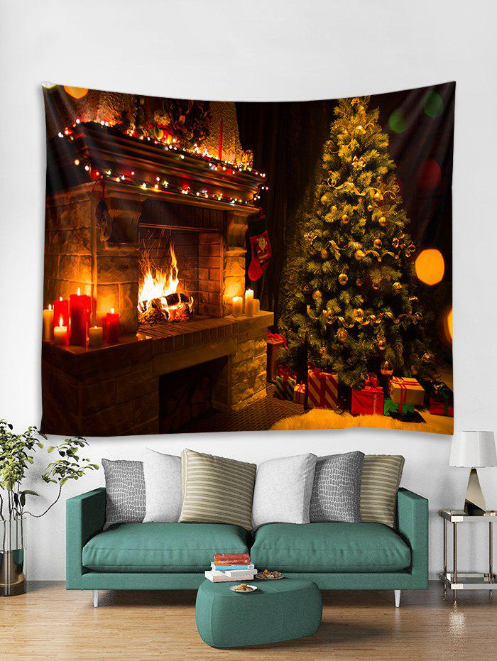 Hot Christmas Fireplace Tree Print Tapestry Wall Hanging