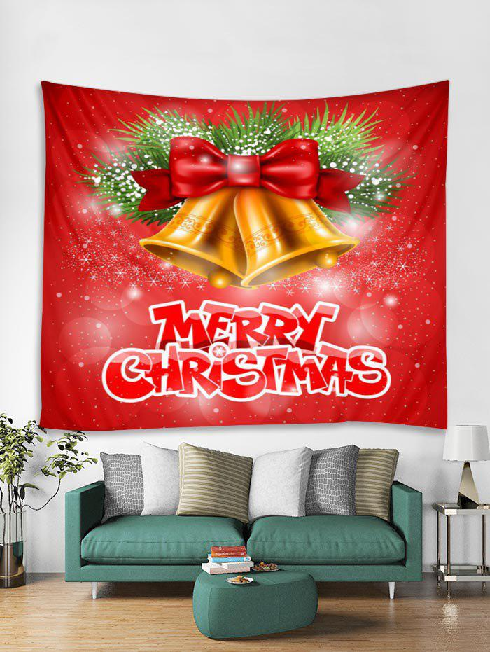 Affordable Christmas Bowknot Bells Print Tapestry Wall Hanging Art Decoration