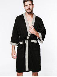 Cotton Men Waffle Robe Bathrobe Sweat Sauna Towel -