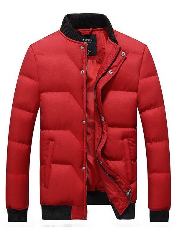 Outfit Japanese Tide Solid Color Casual Youth Large Size Men Down Cotton Coat