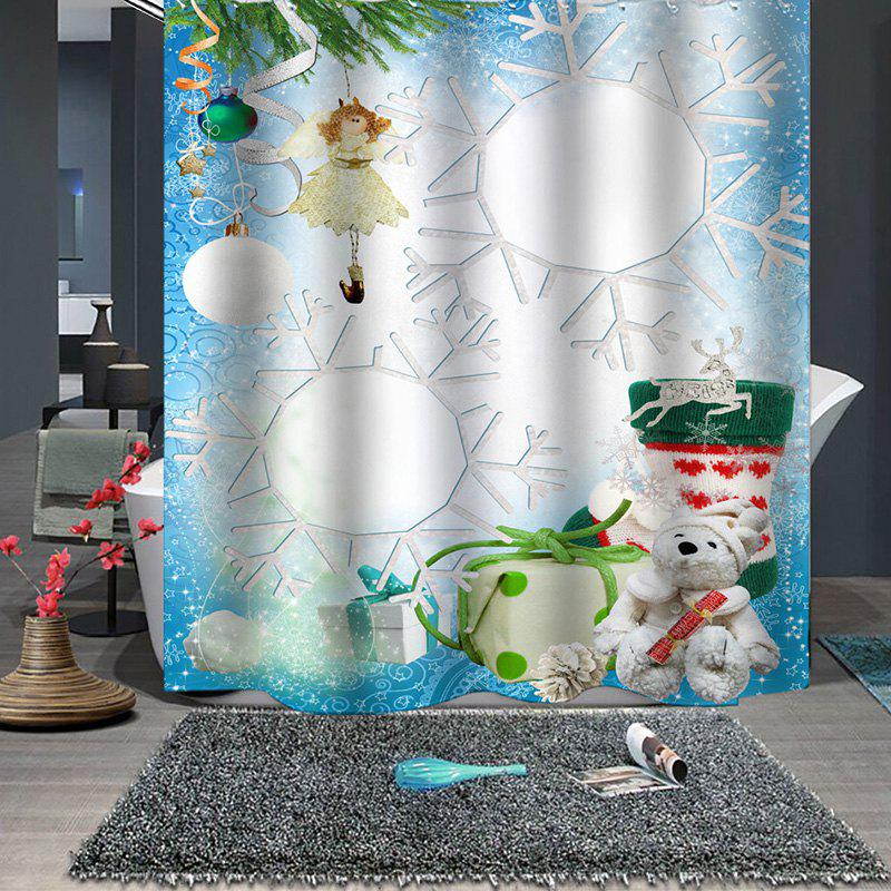 Buy Christmas Print Pattern Breathable Mildew Bathroom Partition Shower Curtain