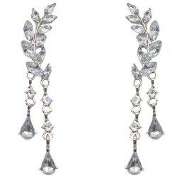 Fashion Creative Leaf Shape Diamond Tassel Earrings -