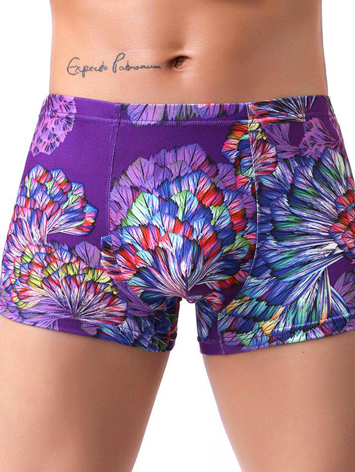 Best Milk Silk Boxer Low Waist Colorful Printed Men's Underwear