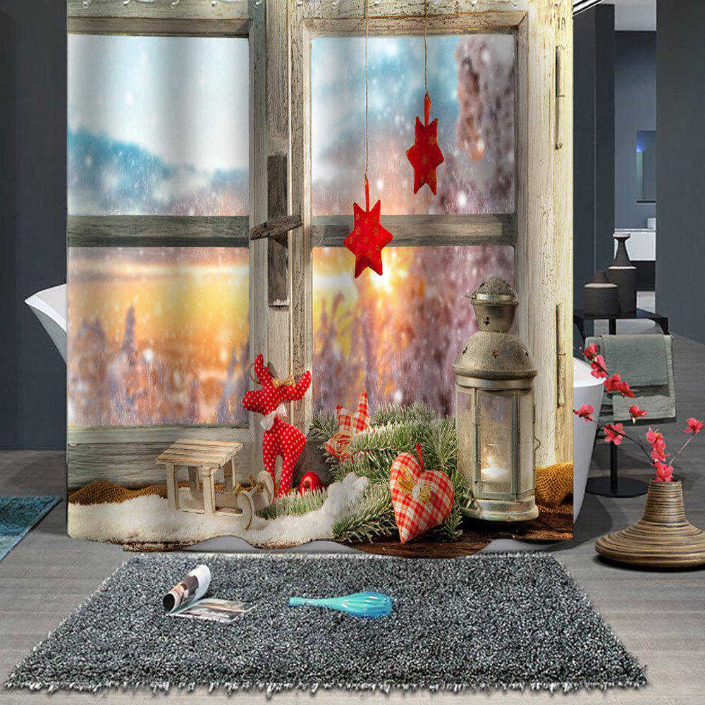 Beautiful Christmas Print  Waterproof Breathable Mildew Bathroom Partition Shower Curtain