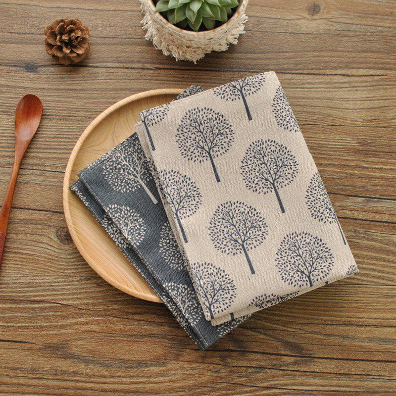Hot Cotton Linen Napkin Tea Towel Cover Double-layer  Oil-proof Anti-fouling Anti-dirty Placemat Small Tree Pattern