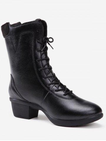 Faux Leather Chunky Heel Mid Calf Boots