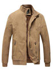 Men's Casual Plus Velvet Windbreaker Washed Jacket -