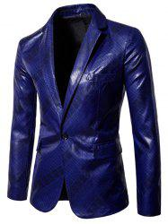 X978 Men Glossy Dark Plaid Casual One Button Suit -