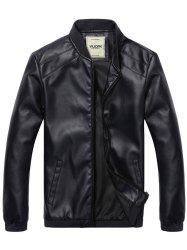 Men's Stand Collar  PU Leather Jacket -