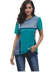 Women Round Collar Stripe Short Sleeve T-shirt -