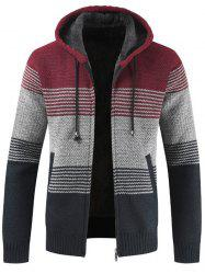 Men Brushed Thickening Thermal Cardigan Coat with Cap -