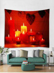 Christmas Candle Heart Pattern Tapestry Art Decoration -
