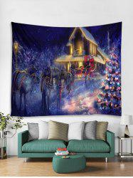 Father Christmas Tree Deer Light Tapestry Art Decoration -