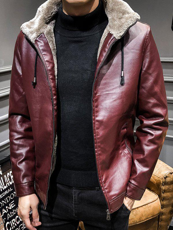 Outfit Casual Thick Warm PU Leather Jacket