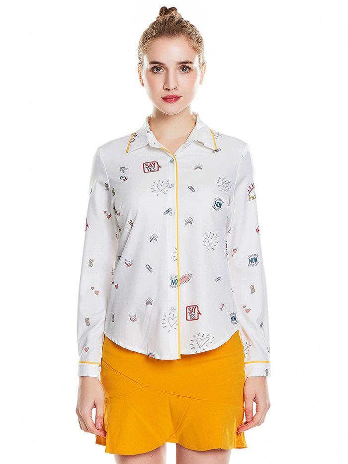 Affordable 030 - A618 Chiffon Printed Long-sleeved Women's Collar Ageing Shirt Ol Style