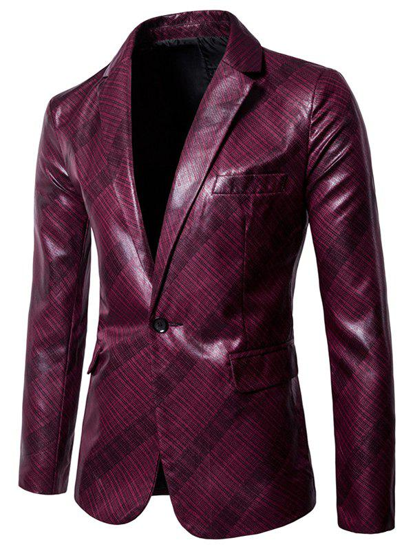 Fashion X978 Men Glossy Dark Plaid Casual One Button Suit