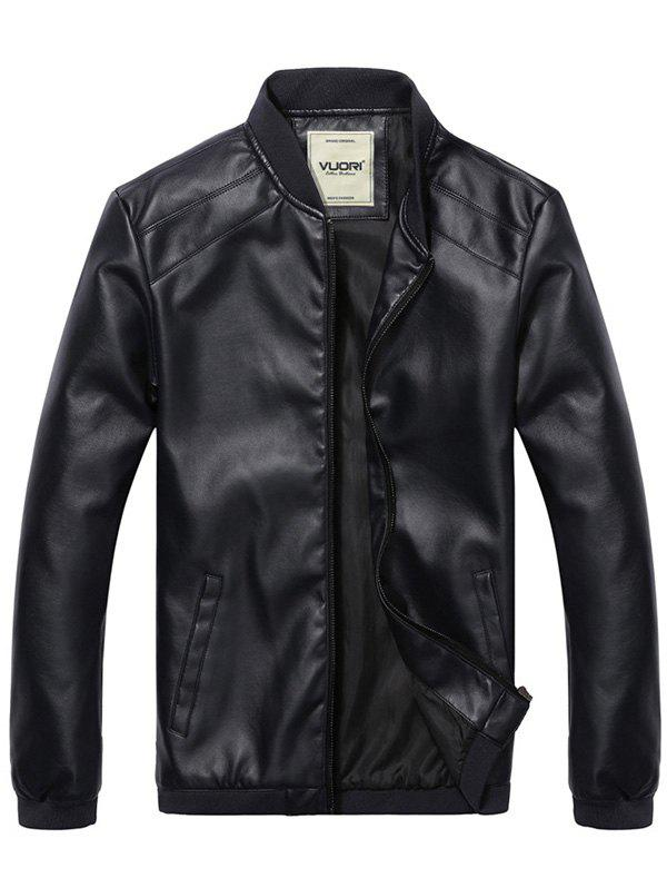 Affordable Men's Stand Collar  PU Leather Jacket