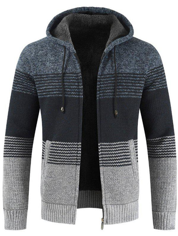 Fashion Men Brushed Thickening Thermal Cardigan Coat with Cap