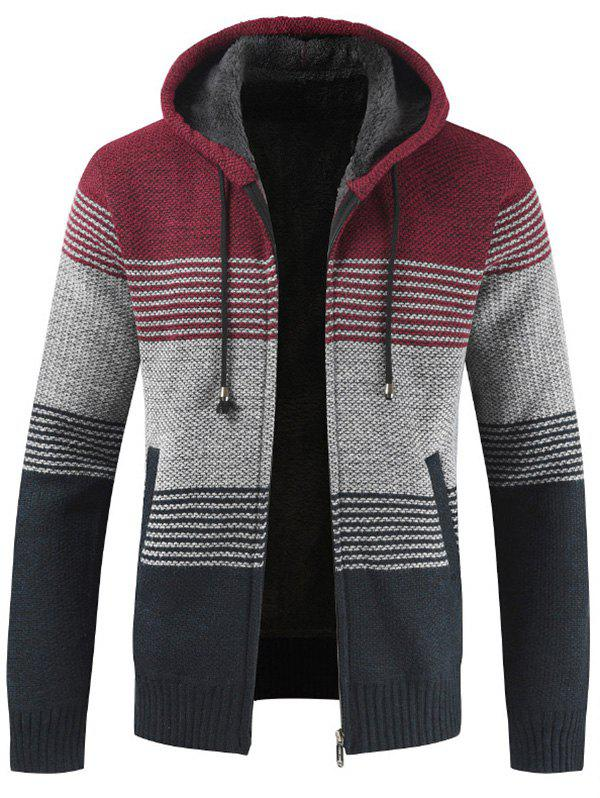 New Men Brushed Thickening Thermal Cardigan Coat with Cap