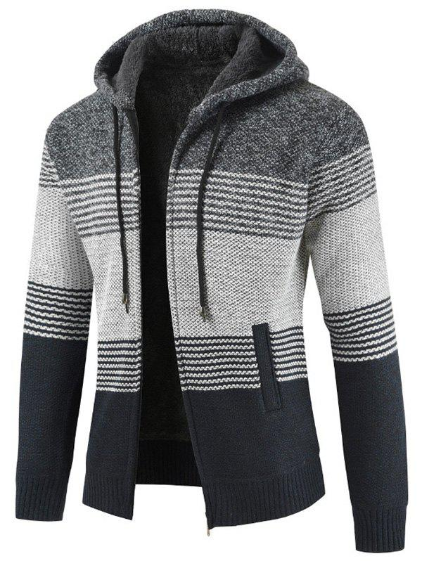 Buy Men Brushed Thickening Thermal Cardigan Coat with Cap