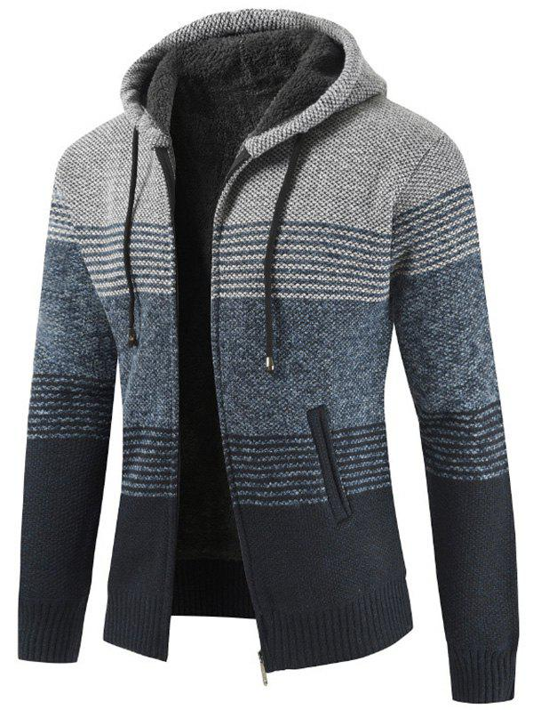 Store Men Brushed Thickening Thermal Cardigan Coat with Cap
