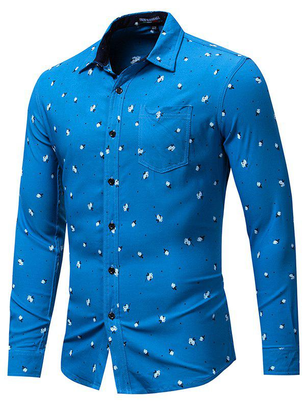 Discount FREDD MARSHALL Men's Casual Long Sleeved Stretch Printed Shirt