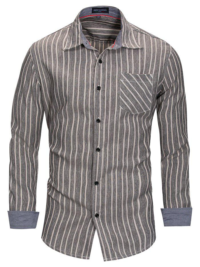 Outfits FREDD MARSHALL Simple Men's Casual Long Sleeve Striped Shirt