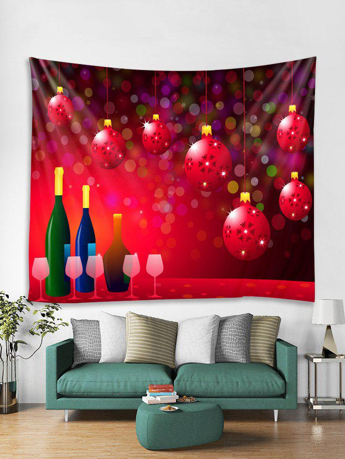 81a783753e0 Christmas Ball Theme Pattern Tapestry Art Decoration - Red - W91 X L71 Inch