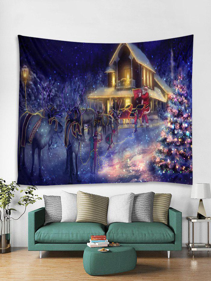 Unique Father Christmas Tree Deer Light Tapestry Art Decoration