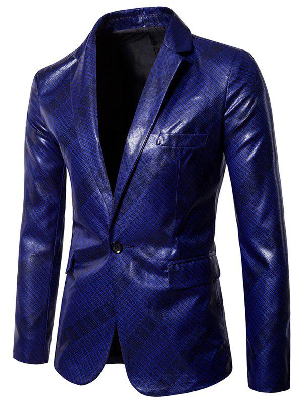 Discount X978 Men Glossy Dark Plaid Casual One Button Suit