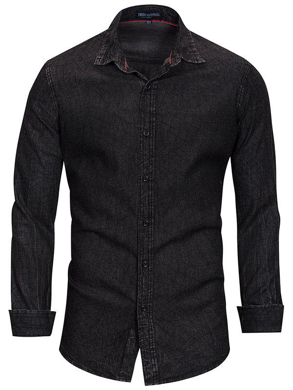 Outfits FREDD MARSHALL Men's Casual Long - sleeved Denim Print Shirt