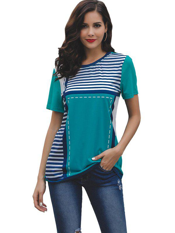 Hot Women Round Collar Stripe Short Sleeve T-shirt
