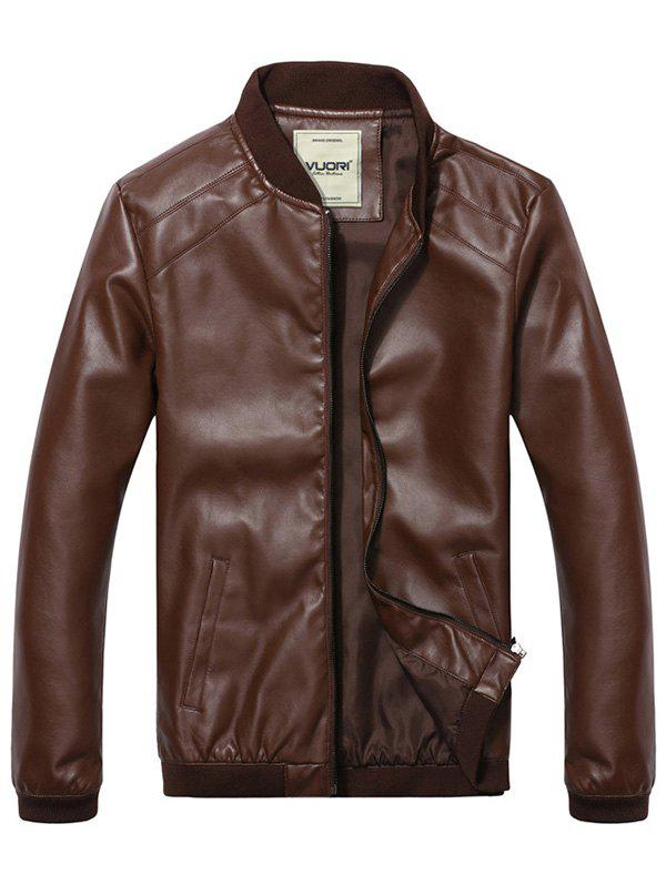 Shop Men's Stand Collar  PU Leather Jacket