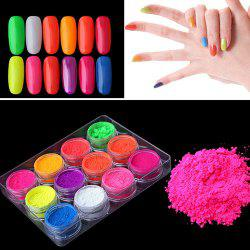 12 Color Fluorescent Series Laser Phototherapy Nail Polish Powder -