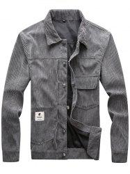 Men Classic Stand Collar Button Corduroy Jacket -