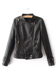 Women's Autumn Personality Side Zip Leather Jacket -