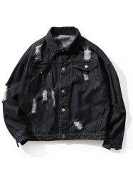 Large Size Solid Color Hole Men's Casual Jacket -